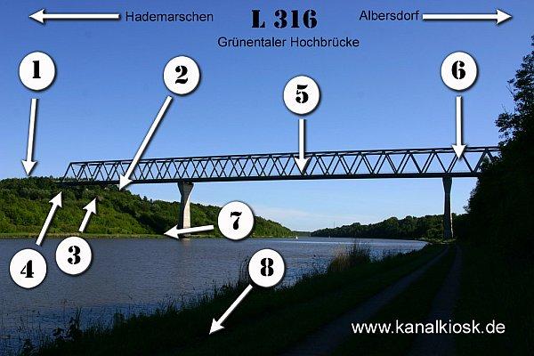 Die Fotostandorte an der Grünentaler Hochbrücke